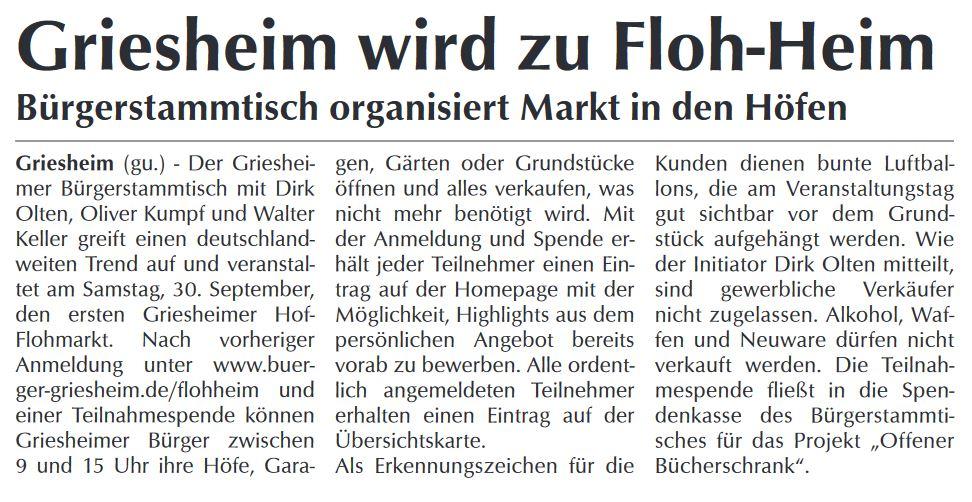 Griesheimer Woche über unsere Floh-heim-Aktion